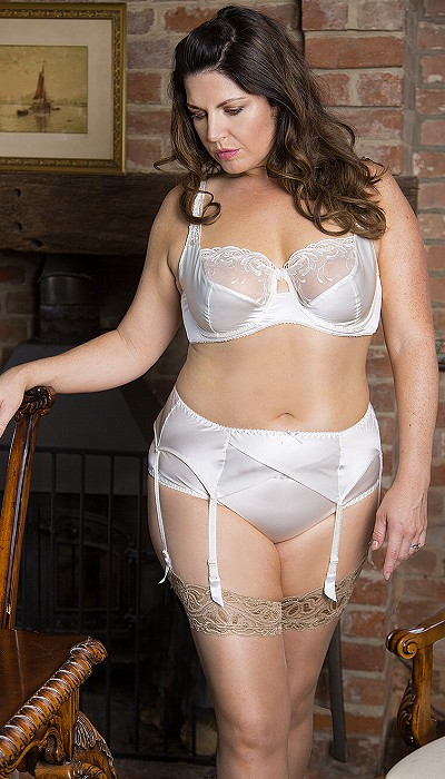 a3ea1d8b2 Plus Size Bra. Touch to zoom. Ivory silk bra with suspender and brief ...